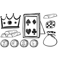 Doodles set with crown and coins vector