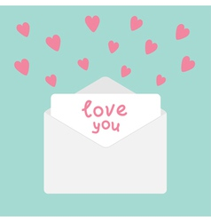 Envelope with hearts Love you card vector