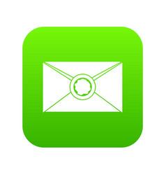 Envelope with wax seal icon digital green vector