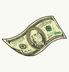 Falling one hundred us dollar bill vector