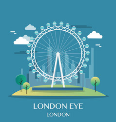 famous london landmark london eye vector image