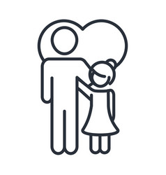Father and daughter hugging in love heart family vector