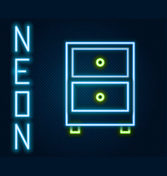 glowing neon line drawer with documents icon vector image