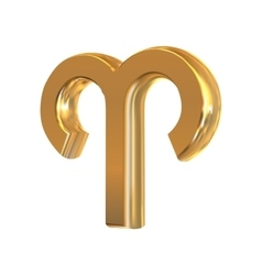 Golden zodiac sign Aries object made with mesh vector