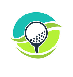 Golf club label with white ball on stand vector