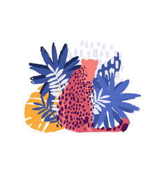 Graphic cheetah surrounded by exotic plants vector