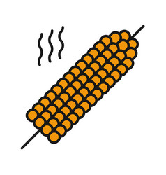 Grilled corn on skewer color icon vector