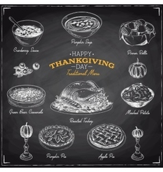 Hand drawn sketch thanksgiving food set vector