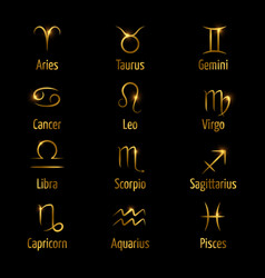Hand drawn zodiac symbols shine gold effect vector