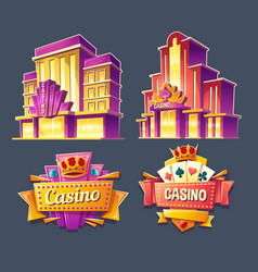 Icons of casino buildings and retro signboards vector