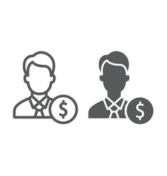 investor line and glyph icon finance and banking vector image