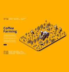 Isometric banner coffee farming vector