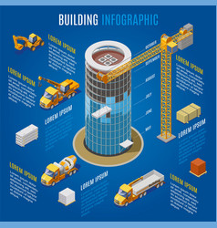 isometric modern building infographic concept vector image