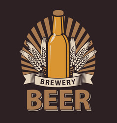 label for the beer in the brown color vector image