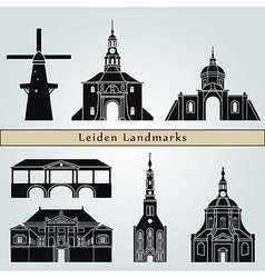 Leiden landmarks and monuments vector image