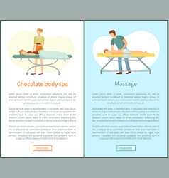 massage and chocolate body spa procedures masseur vector image
