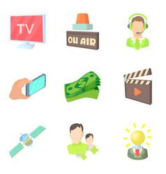 media representatives icons set cartoon style vector image