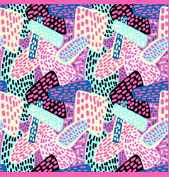 Memphis style hand drawn textured seamless pattern vector
