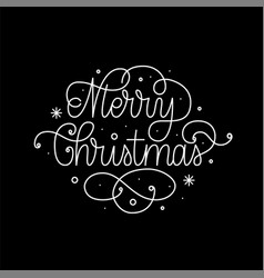 merry christmas fine line art calligraphy design vector image