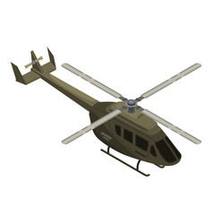 military helicopter icon isometric style vector image