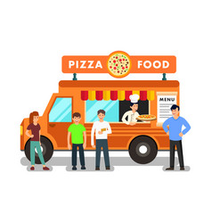 Mobile restaurant cartoon vector