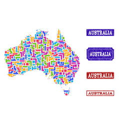 mosaic map of australia and grunge stamps collage vector image