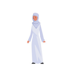 Muslim woman in white dress and hijab beautiful vector