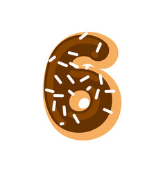 number 6 donut doughnut font six sweet alphabet vector image
