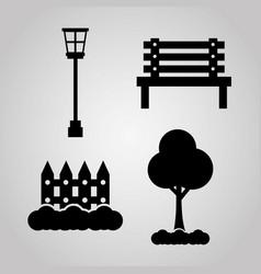 park element decoration lamp wooden bench fence vector image