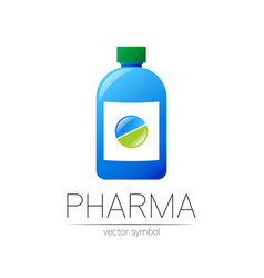 pharmacy symbol with blue bottle and green vector image