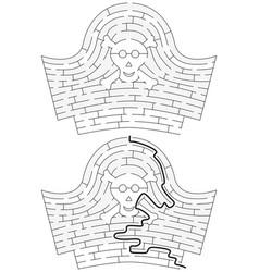Pirate hat maze vector