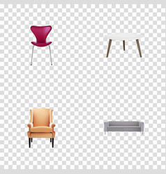 realistic kitchen stool comfortable and other vector image