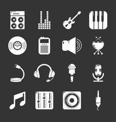 Recording studio symbols icons set grey vector