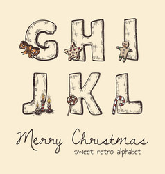Retro christmas alphabet - g h j k l i vector