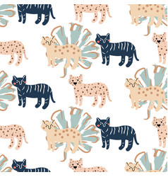 seamless cute pattern with leopard and palm leafs vector image