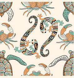 Seamless pattern with turtles crabs and lizards vector