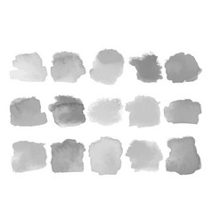 Set gray watercolor stains on white vector
