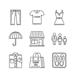 set of clothes icons in sketch style vector image