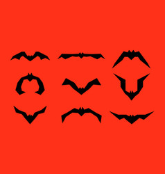 Set of different bats isolated on red vector