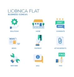 Set of modern office flat design icons and vector