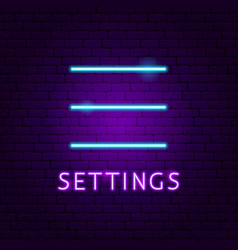 Settings ui neon label vector