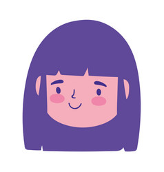 smiling girl face character cartoon isolated vector image