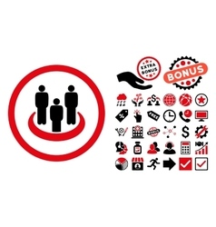 Social Group Flat Icon with Bonus vector image