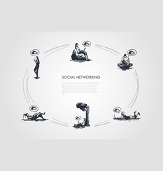 social networking - people working on laptops and vector image