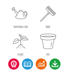 Sprout plant watering can and pot icons vector