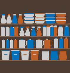 store shelves with household chemicals vector image