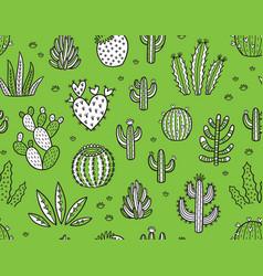 Succulent boho seamless pattern vector