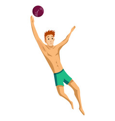 summer beach activities guy plays beach vector image