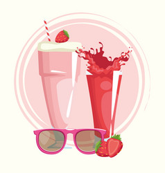 Sunglasses strawberry milkshake and juice vector
