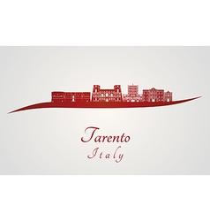 Tarento skyline in red vector image vector image